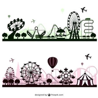 Skylines parque de diversões de vetores