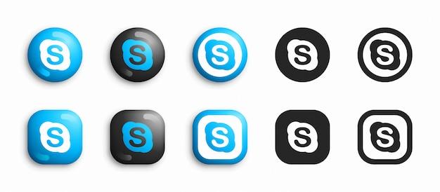 Skype moderno 3d e conjunto de ícones plana