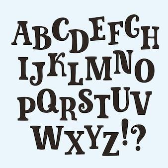Slab serif alfabeto manuscrito desenhado à mão