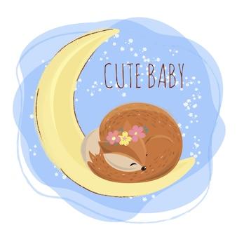 Sleep cervos cartoon forest baby animal