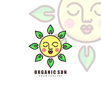Sleep face sun com green leaves logo
