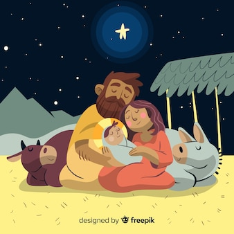 Sleeping sacred family christmas illustration