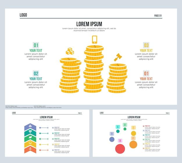 Slide de apresentação de moedas e modelo de powerpoint
