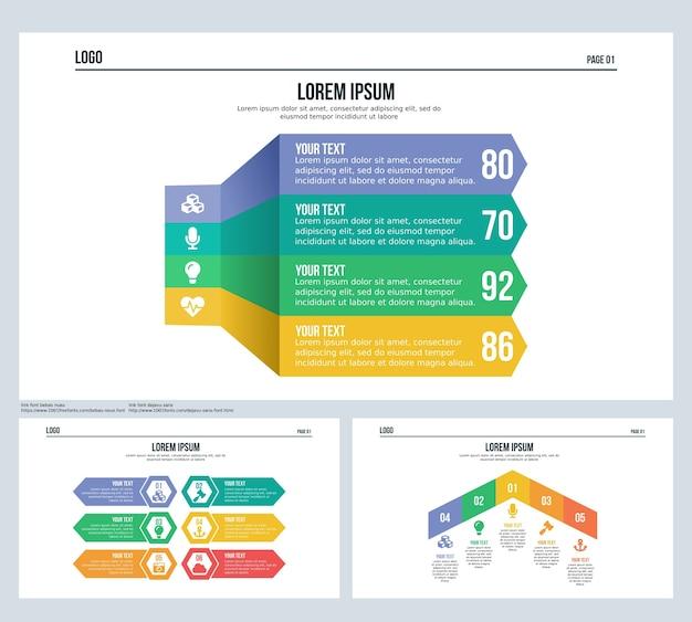 Slide de apresentação de três setas e modelo de powerpoint