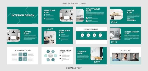 Slide de apresentação multiuso de design de interiores Vetor Premium