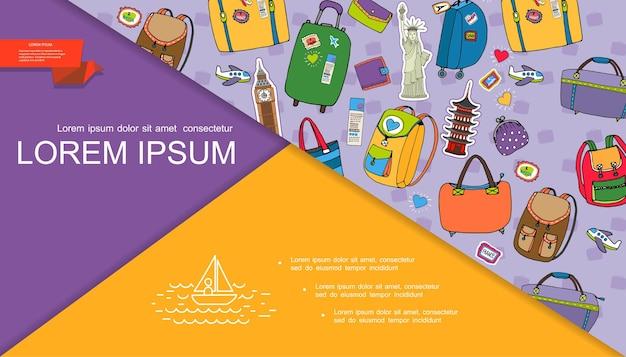 Slide de composição de viagem de verão desenhado à mão com malas de bagagem, bolsa carteira, passagem de avião, ilustração de pontos turísticos famosos do mundo