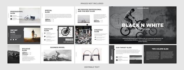 Slide de design de apresentação em preto e branco