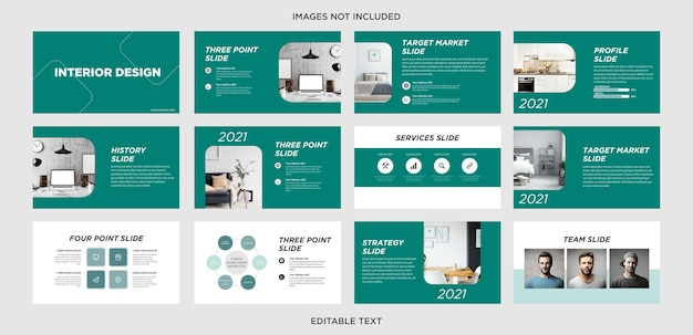 Slide de powerpoint multifuncional de design de interiores