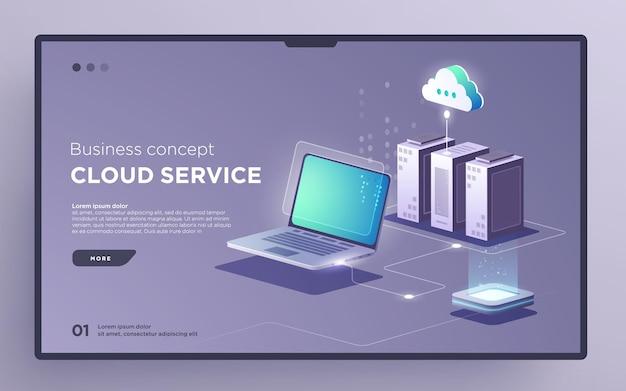 Slide hero page or digital technology banner conceito de negócio de serviço em nuvem vetor isométrico