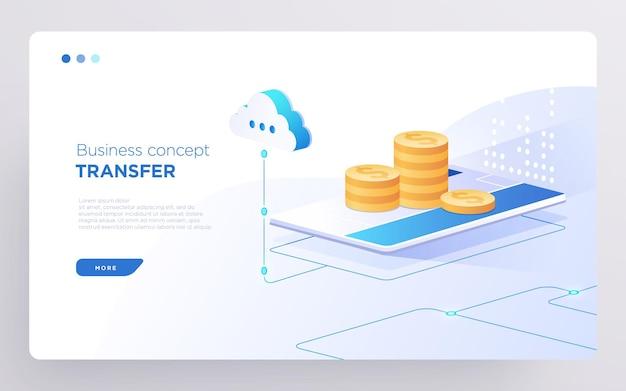 Slide hero page or digital technology banner conceito de negócio de transferência de dinheiro vetor isométrico