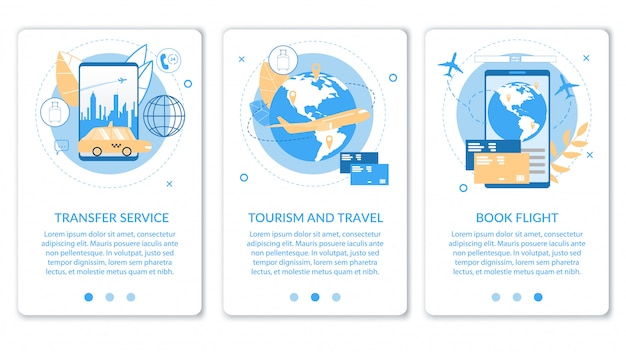 Sliders informativos definidos para o serviço de transferência ou agências de turismo