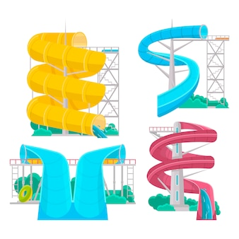Slides de água aqua park isolado conjunto