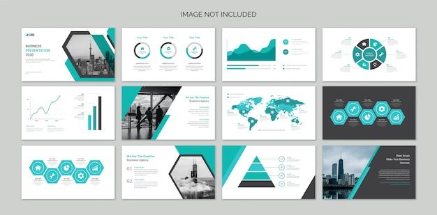 Slides de apresentação de negócios com elementos de infográfico