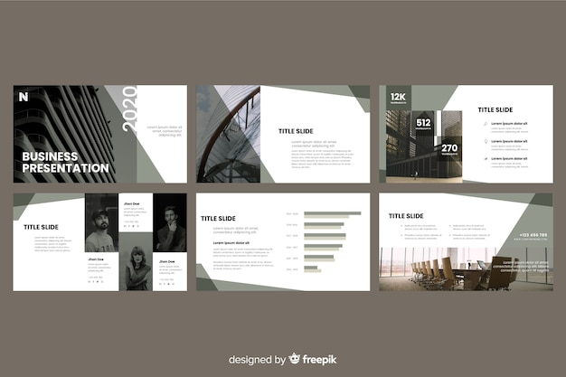Slides de apresentação de negócios com foto