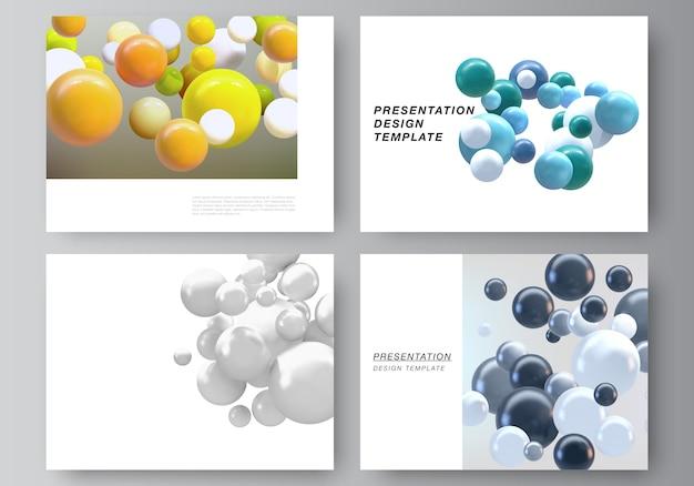 Slides de apresentação projetam modelos de negócios, modelo multiuso com esferas 3d multicoloridas, bolhas, bolas.