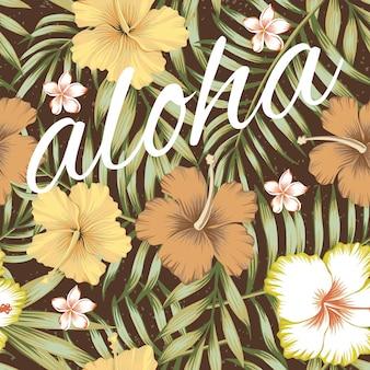 Slogan aloha folhas tropicais hibisco marrom