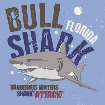 Slogan ataque de tubarão. tubarão de bull florida. águas perigosas