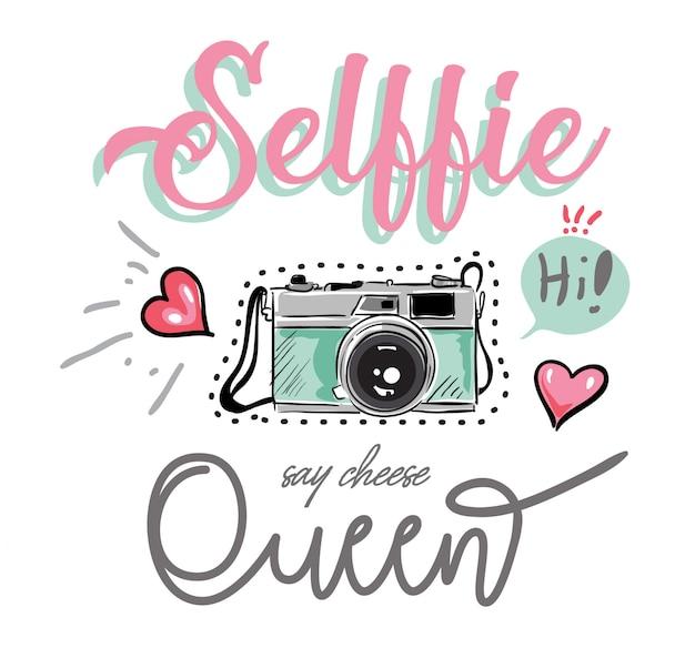 Slogan com ilustração colorida de câmera e ícones