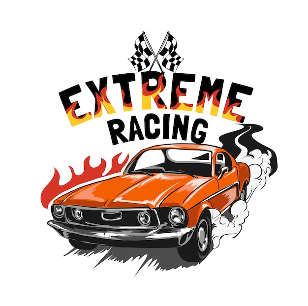 Slogan com ilustração de carro de corrida vintage