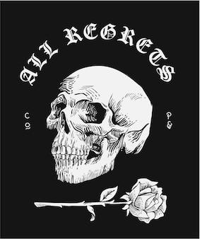 Slogan com ilustração de crânio preto e branco