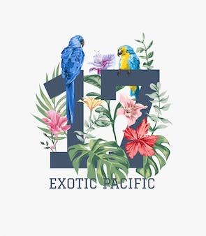 Slogan com ilustração de natureza selvagem e pássaros exóticos