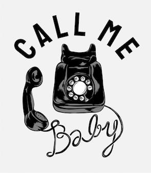 Slogan com ilustração de telefone vintage preto