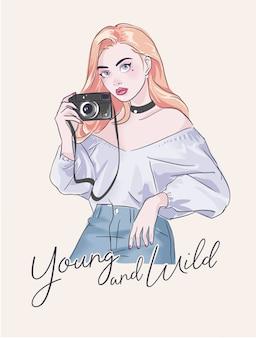 Slogan com menina dos desenhos animados e câmera