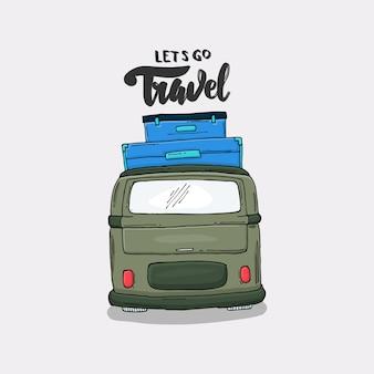 Slogan com uma ilustração de van