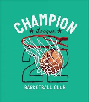 Slogan da liga dos campeões com basquete na ilustração dos desenhos animados de aro