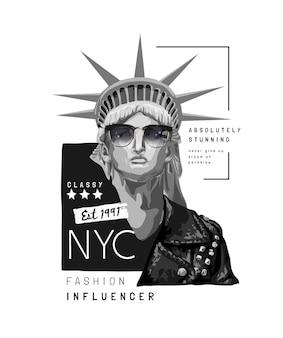 Slogan da tipografia com a estátua da liberdade em óculos de sol e ilustração de jaqueta de couro