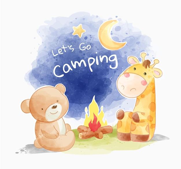 Slogan de acampamento com desenho animado de animais fofos e ilustração de fogueira