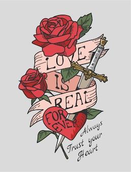Slogan de amor na ilustração de fita e rosas rosa