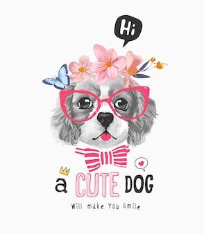 Slogan de cachorro fofo com cachorro preto e branco na ilustração floral da coroa