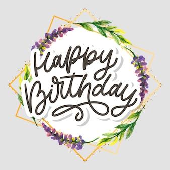 Slogan de caligrafia de letras de feliz aniversário