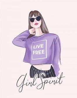 Slogan de espírito de menina com garota na ilustração de óculos de sol