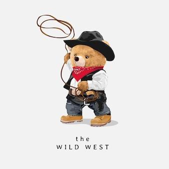 Slogan de faroeste com boneco de urso vaqueiro com laço