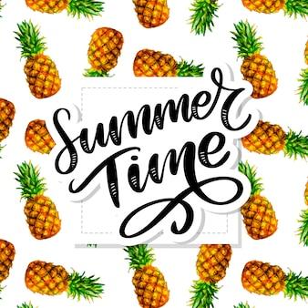Slogan de horário de verão com padrão de abacaxi em aquarela