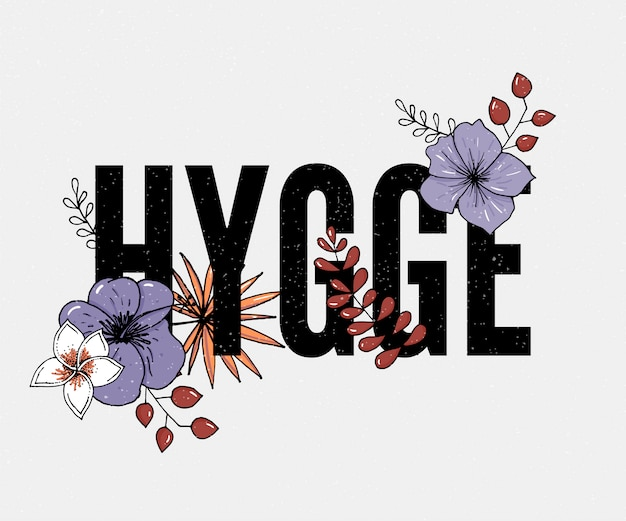 Slogan de hygge em branco