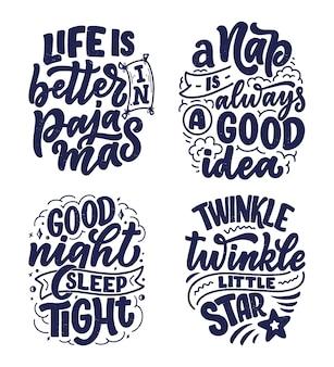 Slogan de letras definido sobre sono e boa noite.