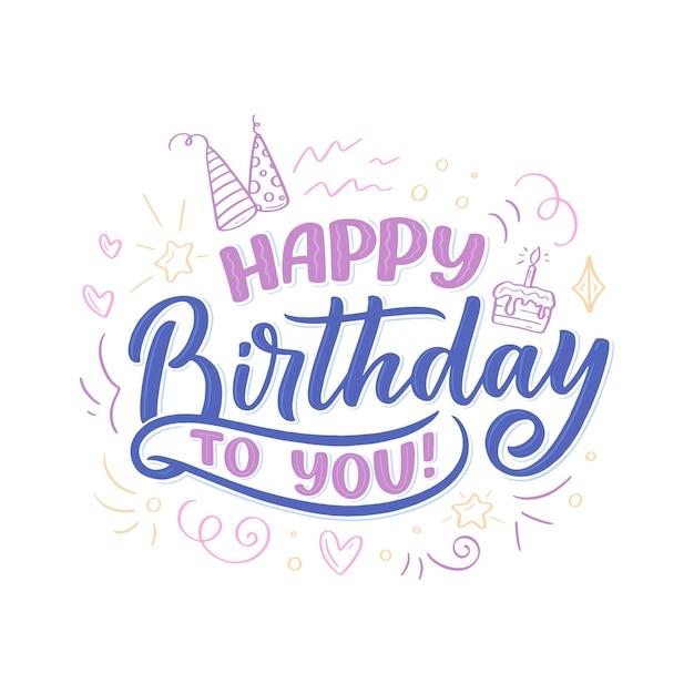 Slogan de letras para feliz aniversário.