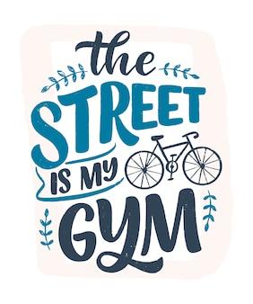 Slogan de letras sobre bicicleta. salve a citação da natureza.