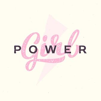 Slogan de mão-letras de poder feminino. logotipo de ilustração de citação de feminismo.