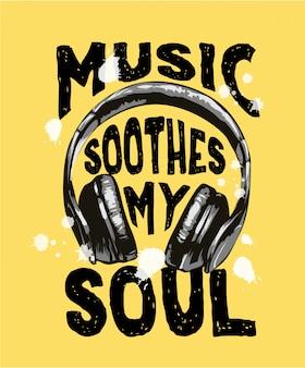 Slogan de música com ilustração de fone de ouvido preto e branco