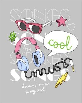 Slogan de música com óculos de sol e ilustração de fone de ouvido