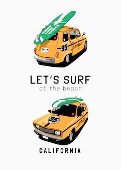 Slogan de surf com ilustração de carro amarelo com prancha de surf
