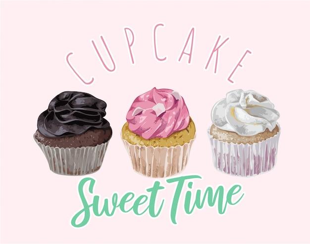 Slogan de tempo doce cupcake com ilustração de cupcakes