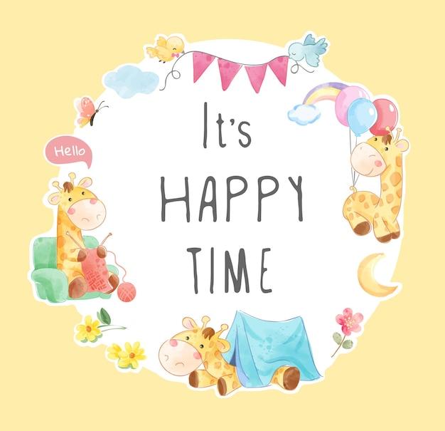 Slogan de tempo feliz na ilustração do quadro do círculo da girafa fofa