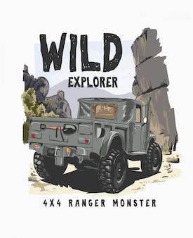 Slogan de tipografia com 4 rodas de caminhão na ilustração selvagem