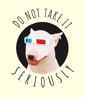 Slogan de tipografia com cachorro engraçado na ilustração de óculos 3d