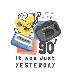 Slogan de tipografia com fita cassete e ilustração de player de música vintage